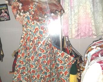 Phillipines Long Cotton Dress w Shawl, petite