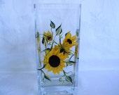 Sunflower Vase, painted sunflower vase, hand painted sunflowers