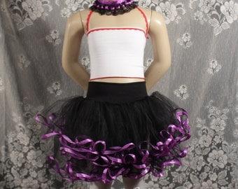 Rocker chic Childs tutu black layered purple skirt mini puffy girls todler dance ballet dress up halloween  - Grow with me- SistersEnchanted
