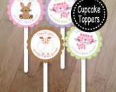 Dreams, Sheep and bunny party Set of 12 Cupcake Toppers, Personalized, Baby Shower or Birthday