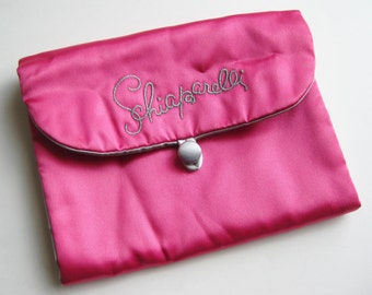 Vintage 50s Shocking Hot Pink Satin Schiaparelli Lingerie Stocking Jewelry Nylon Hosiery Bag