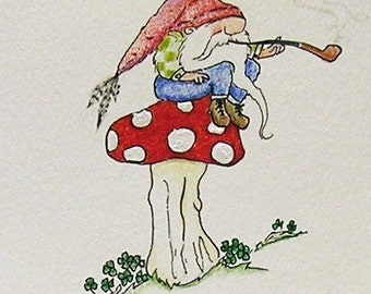 Greeting Card Gnome Troll Tomte Wichtel Zwerg Toadstool Drawing Picture Illustration