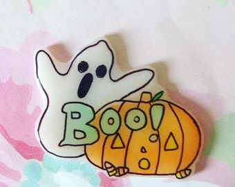Halloween pin, Halloween Queen, ghost Pinback. Pumpkin head brooch, spooky, pumpkin, ghost, witchy, witch, Brooch, soft grunge, tumblr,90s