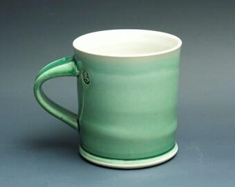 Pottery coffee mug, ceramic mug, stoneware tea cup jade green 14 oz 3405