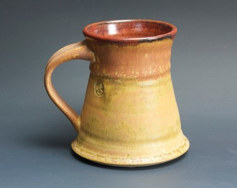 Handmade pottery coffee mug tea cup 12 oz, amber rust tea cup 3453