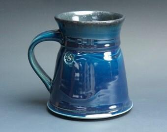 Pottery coffee mug, ceramic mug, stoneware tea cup navy blue 14 oz 3523