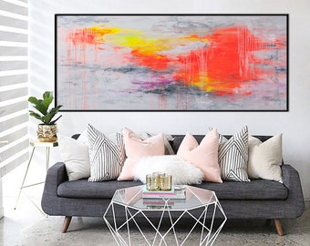 72x30 extra large Abstract Painting hot pink orange neon horizontal painting - summer showers - black frame Elena Petrova