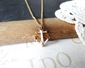 anchors AWAY petite tiny white vintage anchor necklace | gold | white | sailor | nautical | sailing | open seas
