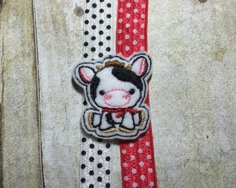 Planner Band/Bookmark - Cow with choice of Polka Dot Band