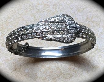 Pave Rhinestone Bangle Bracelet-Hinge Rhinestone Bangle-Silver Stack Bracelet-Statement Bracelet-Wedding Bride Maid of Honor-Bridal Jewelry