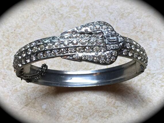 Pave Rhinestone Bracelet, Hinge bangle bracelet