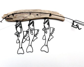 Walleye Stringer and Fishing Rod Wire Sculpture, Walleye Wire Art, Minimal Wire Sculpture, 479763291