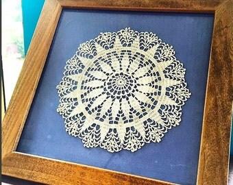 Vintage Crochet Doily Framed Art, Vintage Textile Art, Textile Wall Hanging, Crochet Wall Hanging, Crochet Art, Vintage Doily Art