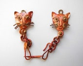 Solid Copper Pendant Holder Kitty Cat  6 Inches Cat Lover