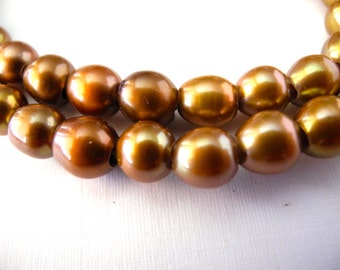 Freshwater Large Hole Rice Pearls Gold Bronze 8mm Full Strand 26 Pieces