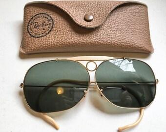True Vintage Rare B&L Ray Ban 10K Gold Filled Decot Bullet Hole Shooter Sunglasses Gray Lenses