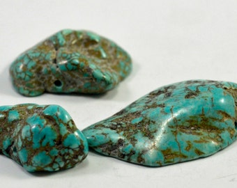 Turquoise dyed magnesite, nuggets, #1365