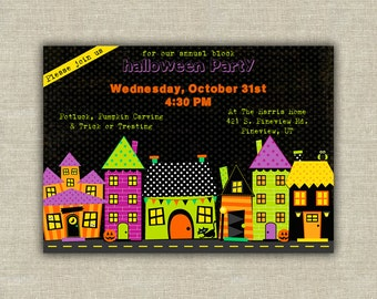 Trick or treating Halloween invitation
