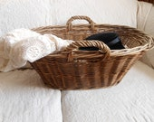 Moses Handled Wicker Laundry Basket Vintage at Quilted Nest