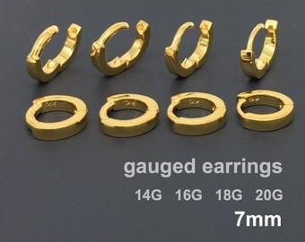 Gold gauged earrings, cartilage earrings, solid yellow gold hoop, cartilage earring gold, 18 gauge, 16 gauge, 14 gauge, men's hoop, E009SY