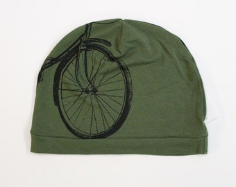 Bike Print Beanie Hat for Child or Adult - Olive Green and Black