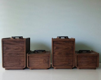 Canisters, Faux Wood Block Plastic Stackable Canister Set, Brown Canister Set