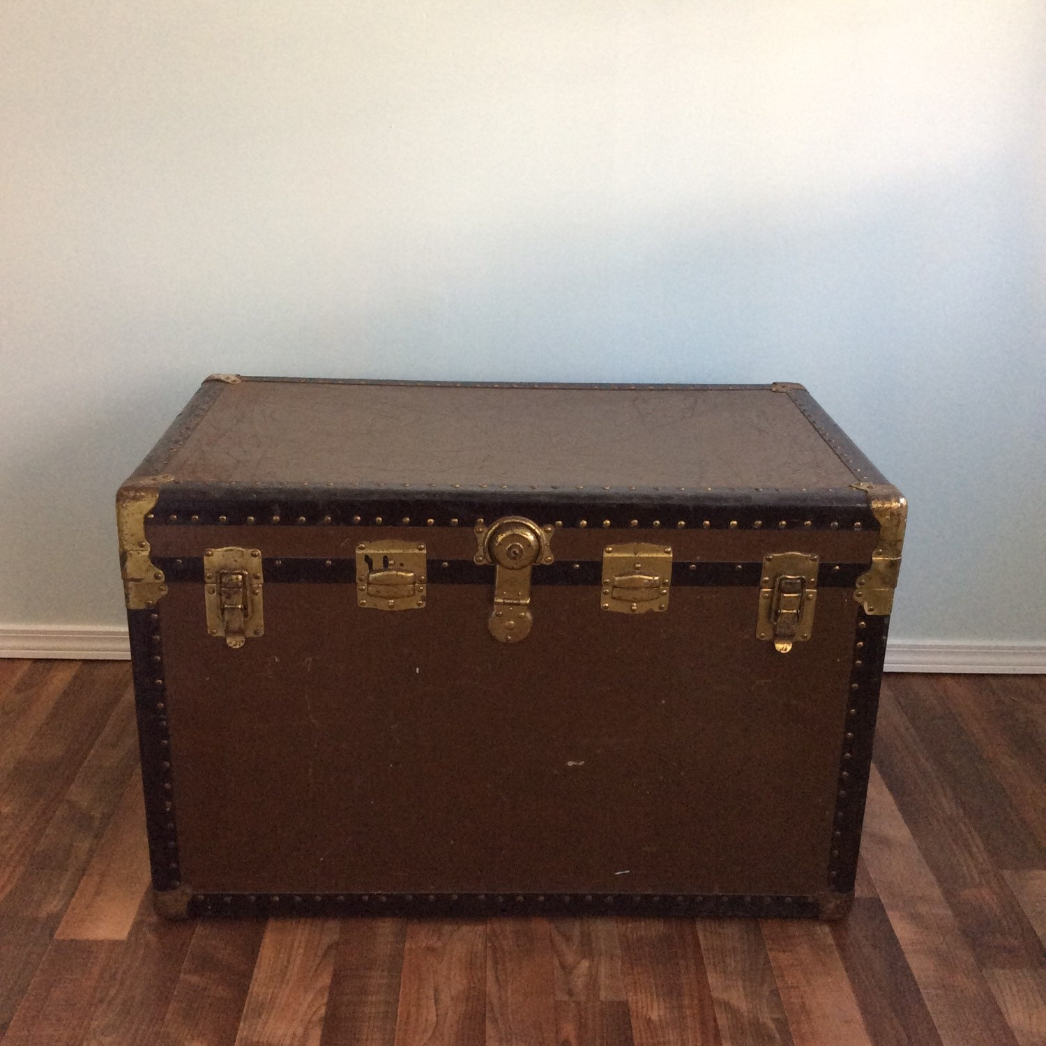 Vintage Trunk Large Coffee Table Size Steamer Chest Perfect As