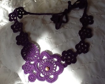 Deep Purple Statement Crocheted Necklace Handmade in the USA