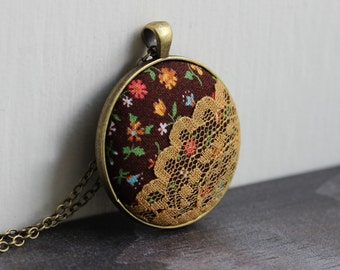 Hippie Jewelry, Mustard Yellow Necklace, Colorful Boho Necklace, Bohemian, Brown, Retro Floral Fabric Lace Pendant for Women, Unique Gift
