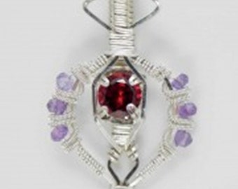 Garnet and Amethyst Argentium Sterling Silver Wire Wrap Pendant