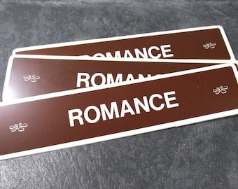 VINTAGE Book Store Sign ROMANCE Plastic Book Section Sign One (1) Romance Sign Auction Find Book Lovers Collage Altered Art (Y143)