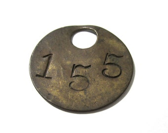 VINTAGE Brass Number Tag Tool TAG Number 155 Scrapbook Altered Art Assemblage Mixed Media Art Jewelry Supplies Brass Tool Tag No 155 (G113)