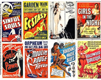 Cabaret Show - Digital Naughty Burlesque Collage Sheet, Poster Collage, Striptease, Dancing Girls, Risque Clip Art, Show Girl Poster, 340a