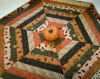 CIJ SALE Fall Table Topper Autumn Hexagonal Quilted Quiltsy Handmade FREE U.S. Shipping