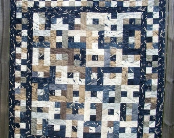 CIJ SALE Nautical Lap Quilt Throw Quilt Beach House Quilted Navy Blue Quiltsy Handmade More Hearty Good Wishes FREE U.S. Shipping