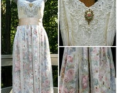 Ivory floral romantic bohemian boho gypsy hippie wedding dress formal dress, lace / vintage cotton, US size 2-4, 34 inch bust, Lily Whitepad