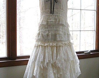 SM Cream Off White Ivory drop waist tattered wedding dress, boho bohemian hippie gypsy bride, US size 6-8, small, Lily Whitepad
