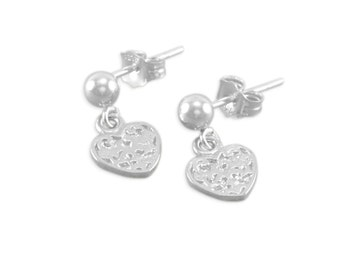 Silver Heart Earrings, Sterling, dangles, childrens jewelry, child, girl present, post, hearts, child, tiny hearts kids, gift, keepsake