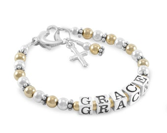 First Communion Bracelet, Gold and Silver Name Bracelet, Personalized Girl jewelry, cross charm, christening, niece, baby baptism, GRACE