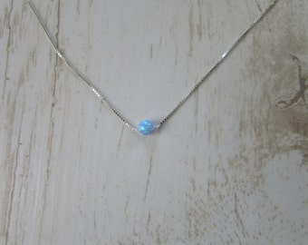Opal Ball Necklace, Opal Necklace, Opal Silver Necklace, blue opal jewelry tiny dot necklace opal bead necklace, Tiny Necklace, Dainty Chain