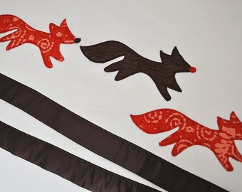 Organic Baby Blanket with Fox -- Brown and Red -- Free Personalization