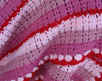 "Vintage Crochet AFGHAN Blanket bubblegum pink and red / striped / retro kitch  67"" x 62"""