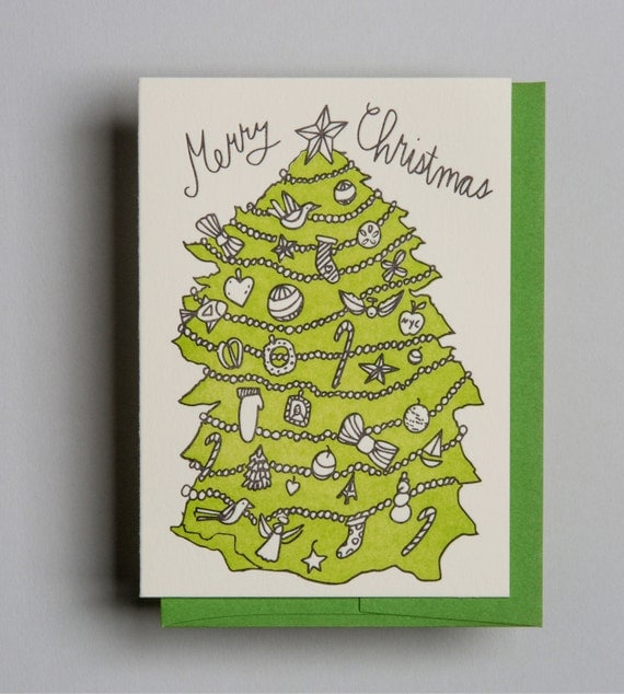 "Letterpress card,  ""Merry Christmas!"""