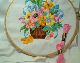 1970s Handmade Embroidered Flower Bouquet in a Basket Art.