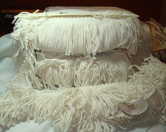 1980s Acrylic White Yarn Fringe.