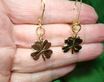 St. Patrick's Day Four Leaf Clover Pierced Earrings.
