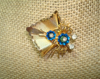 1967 Beautiful Golden Bug Moth Butterfly Pin with Jeweled Eyes and Body.