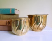 Vintage Brass Planters, Set of 2, Small & Large Pots, Swirl Design