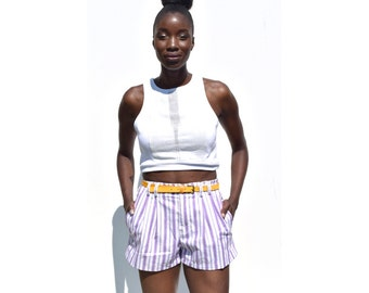 SALE!!!!!!!!!!! Lilac and white striped high waist summer shorts 1990s 90s VINTAGE