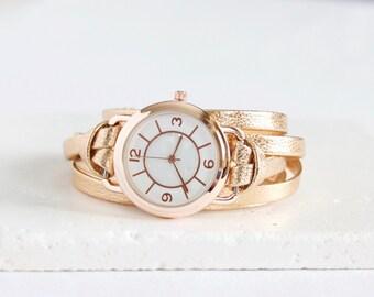 Leather Wrap Watch Bracelet | metallic rose gold | Ladies watch